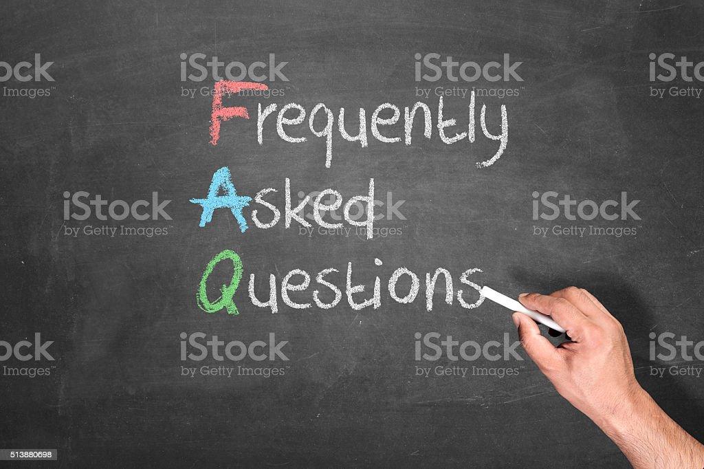 FAQ explained in blackboard stock photo