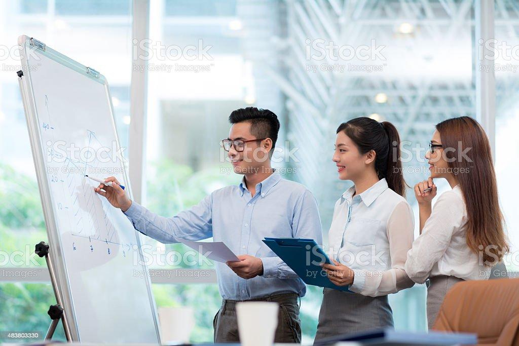 Explaining chart on the whiteboard stock photo