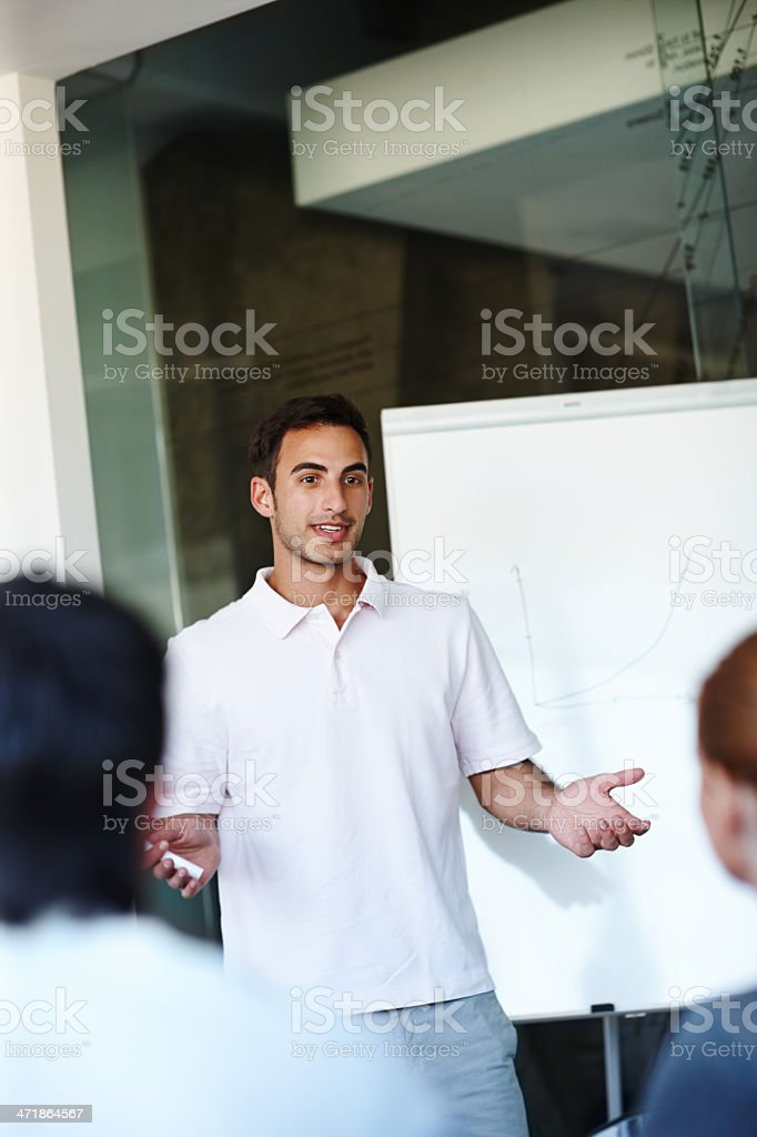 Explaining his business strategy royalty-free stock photo