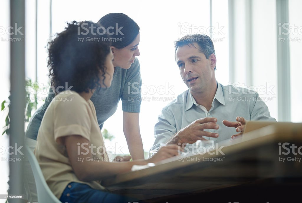 Explaining his ideas stock photo