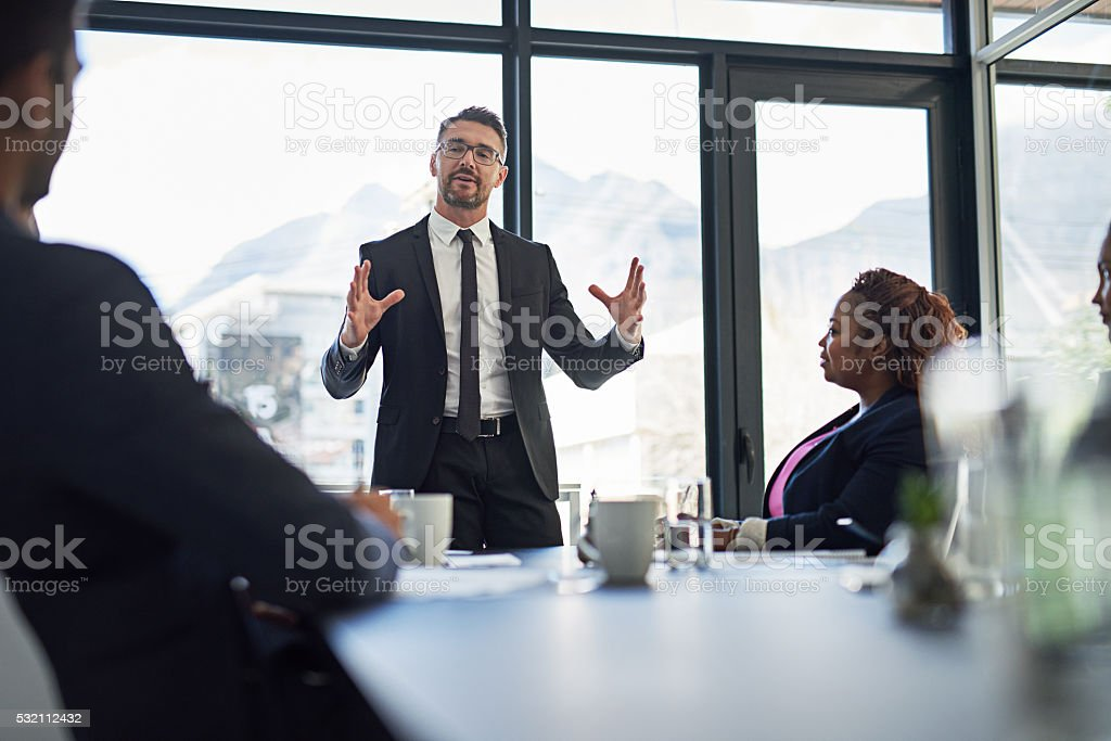 Explaining his vision in detail stock photo