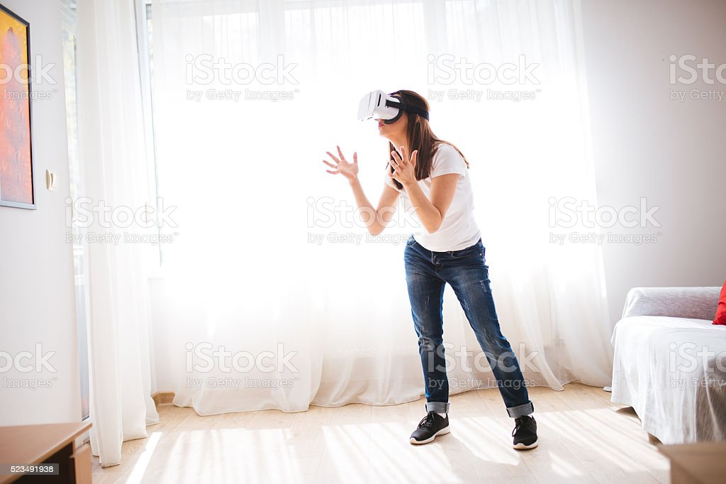 Explaining in virtual world stock photo