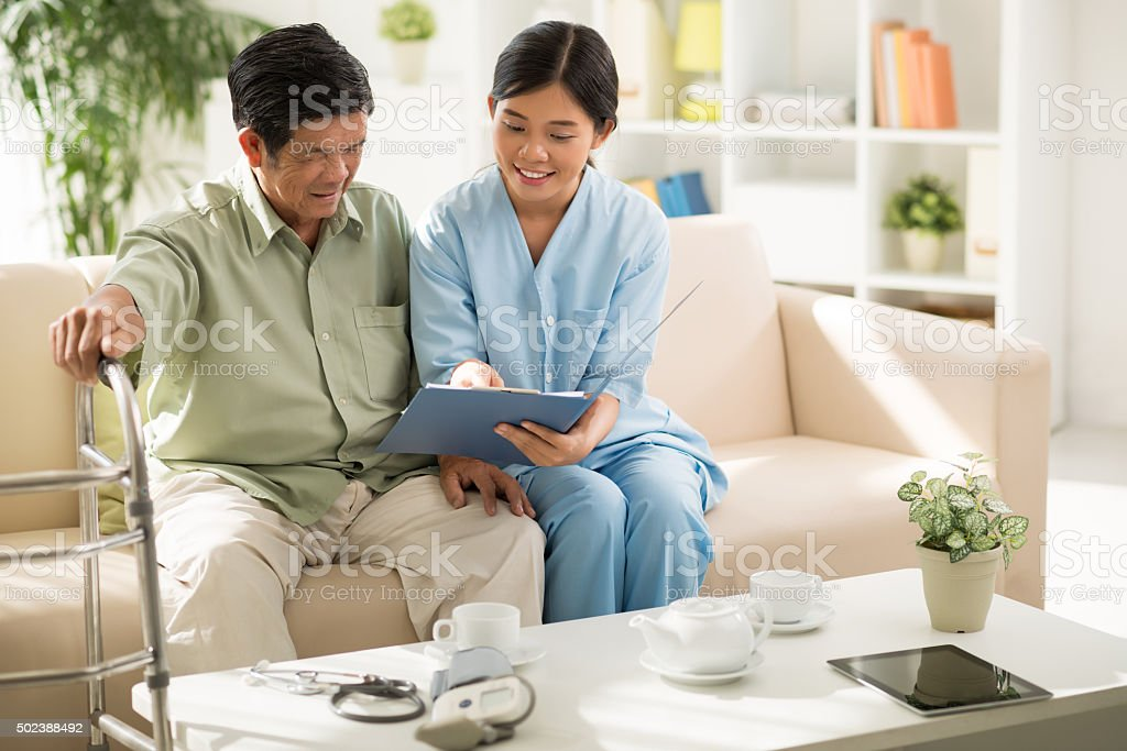Explaining prescription stock photo