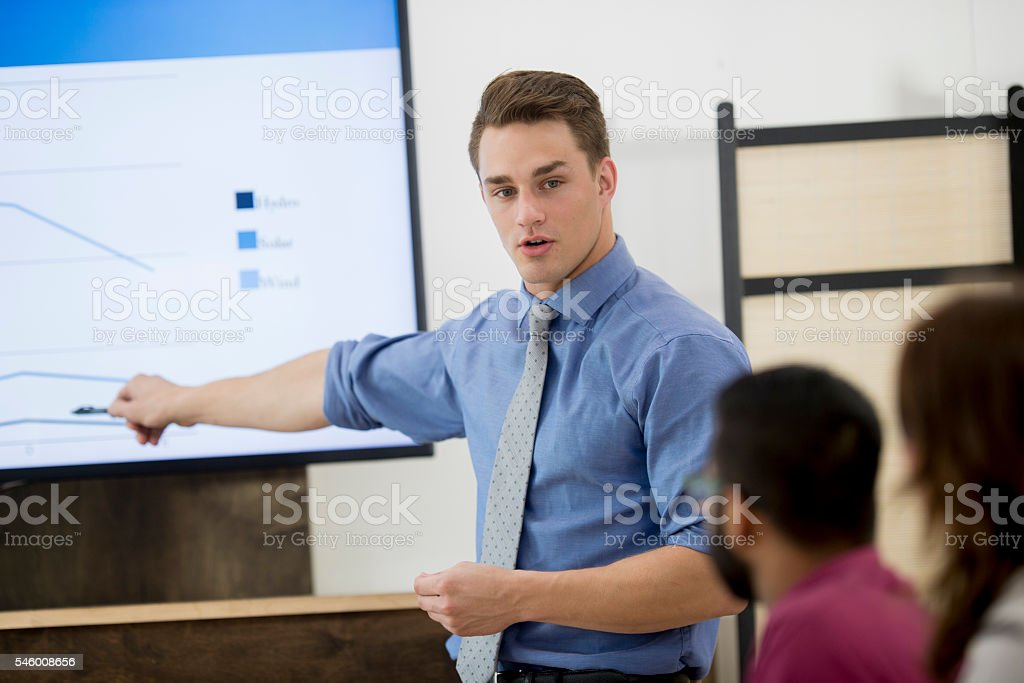 Explaining the Quarterly Reports stock photo