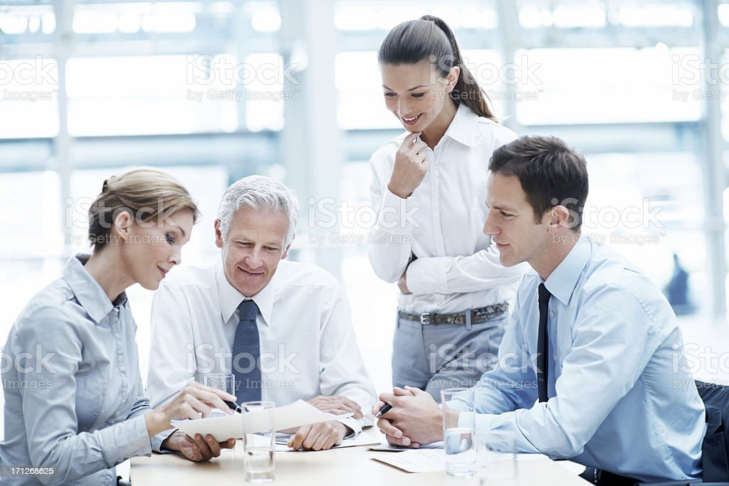 Explaining their next corporate move royalty-free stock photo