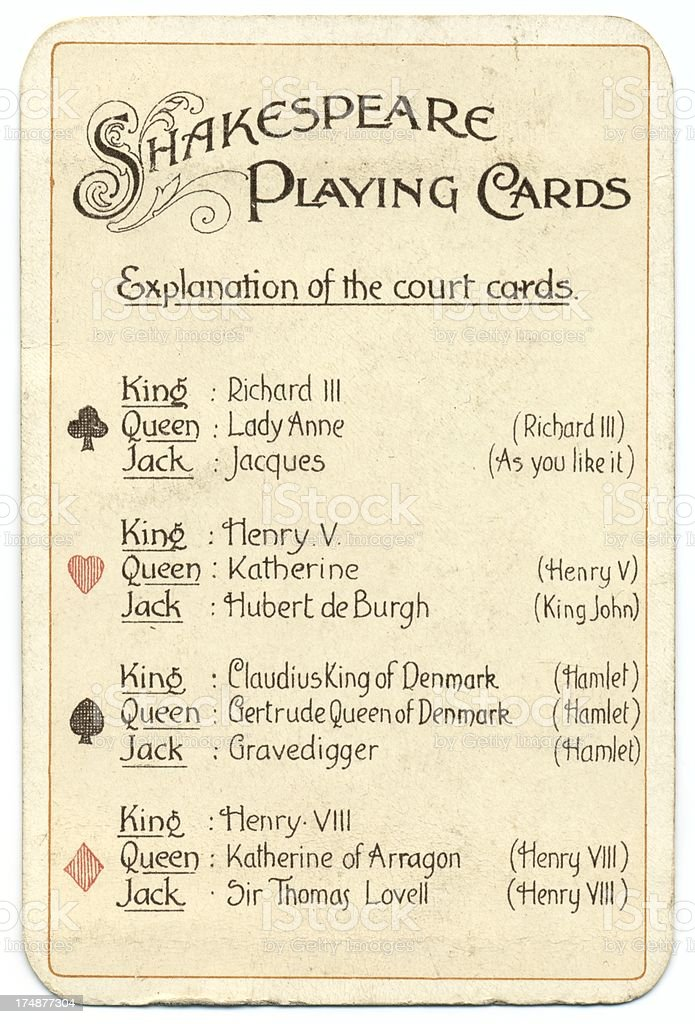 Explanation of characters Dondorf Shakespeare antique playing cards stock photo