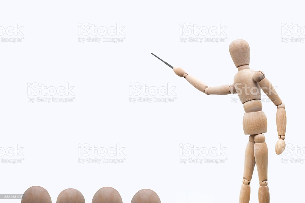 Explanation with a pointer stock photo