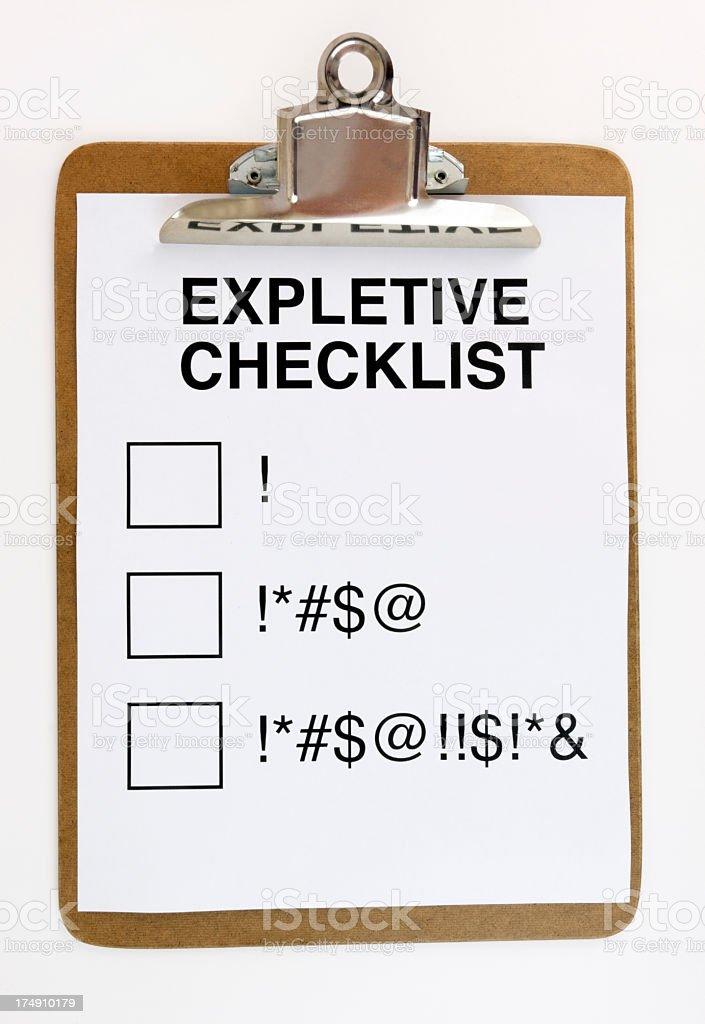Expletive Checklist royalty-free stock photo