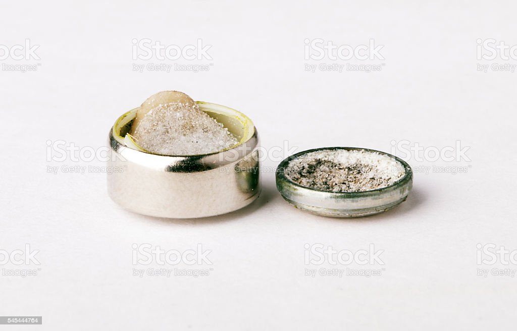 exploded manganese battery alkaline metal the inner contents of the stock photo