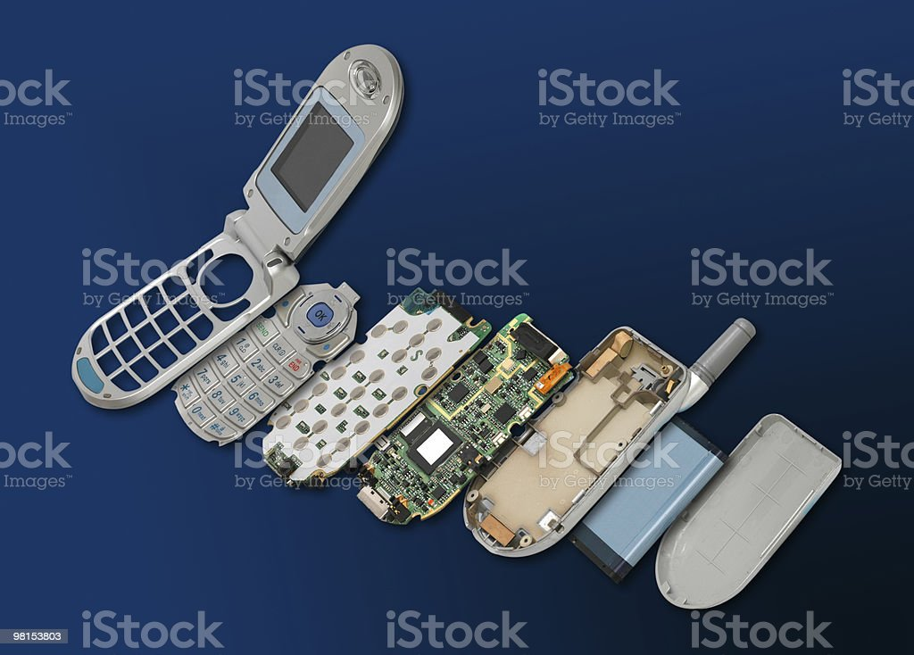 Exploded View Cell Phone Technology stock photo
