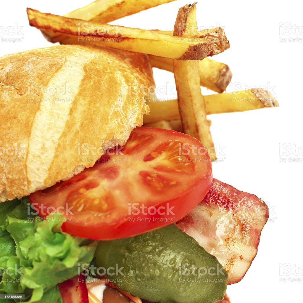 Exploded view of hamburger royalty-free stock photo