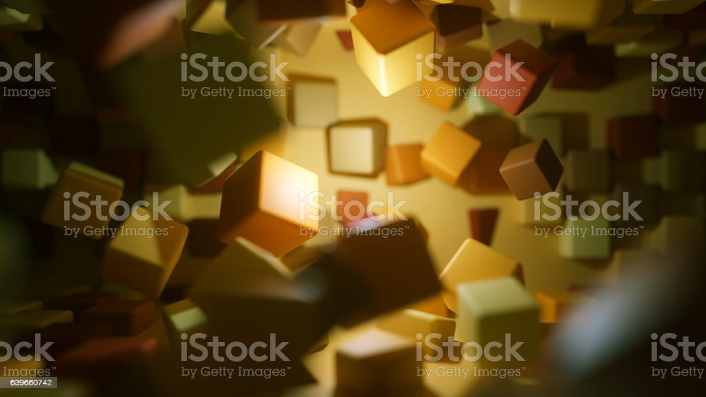 Exploding abstract cubes stock photo