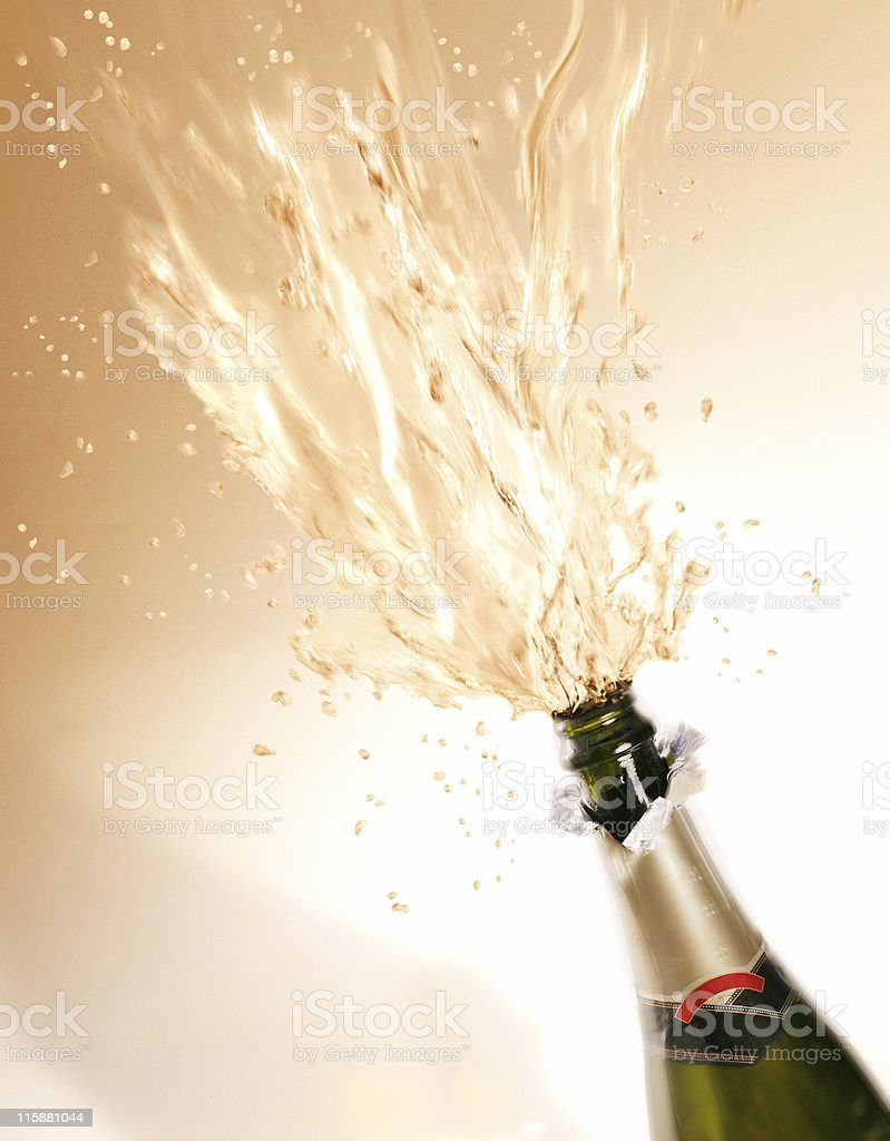 Exploding bottle of champagne royalty-free stock photo