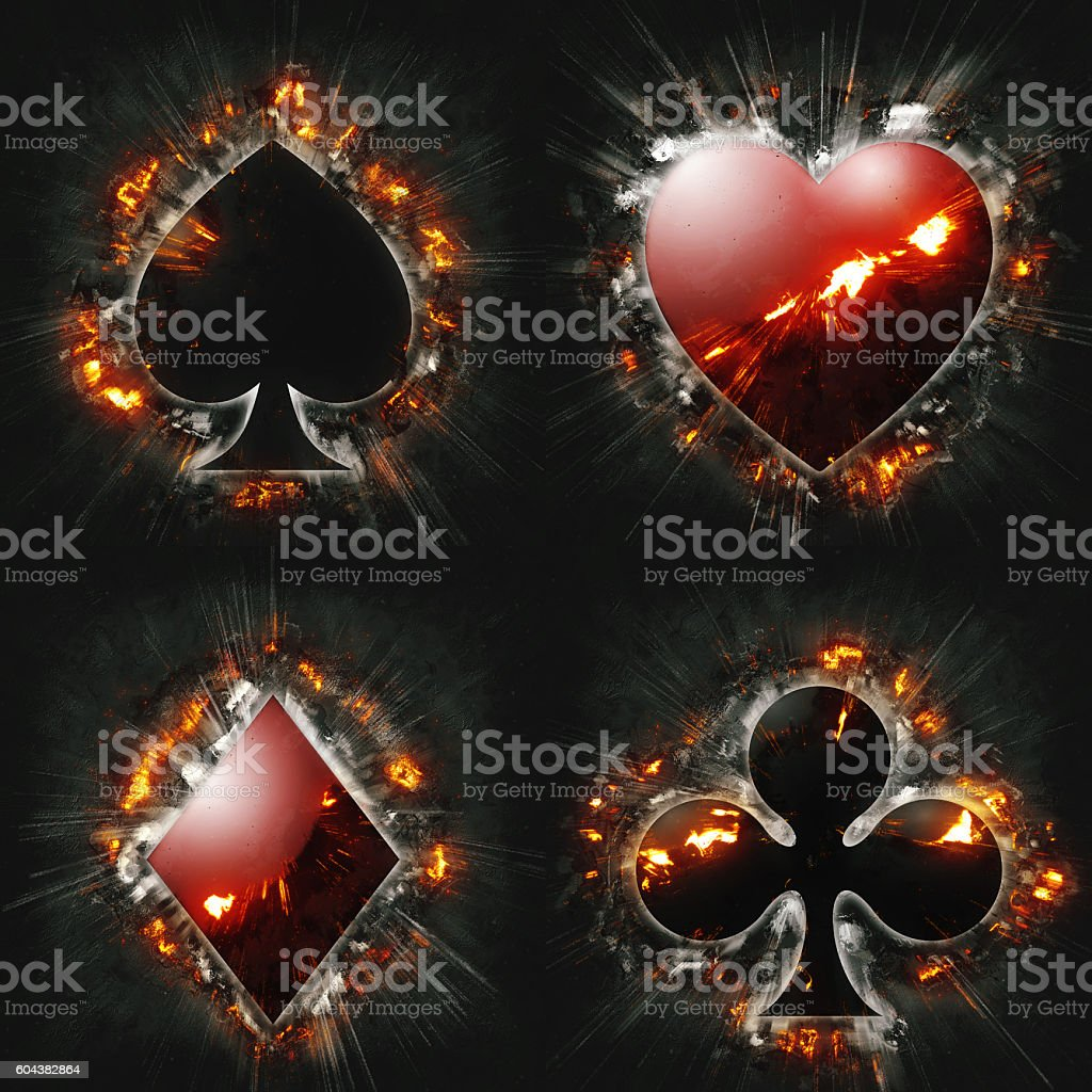 exploding card suits stock photo