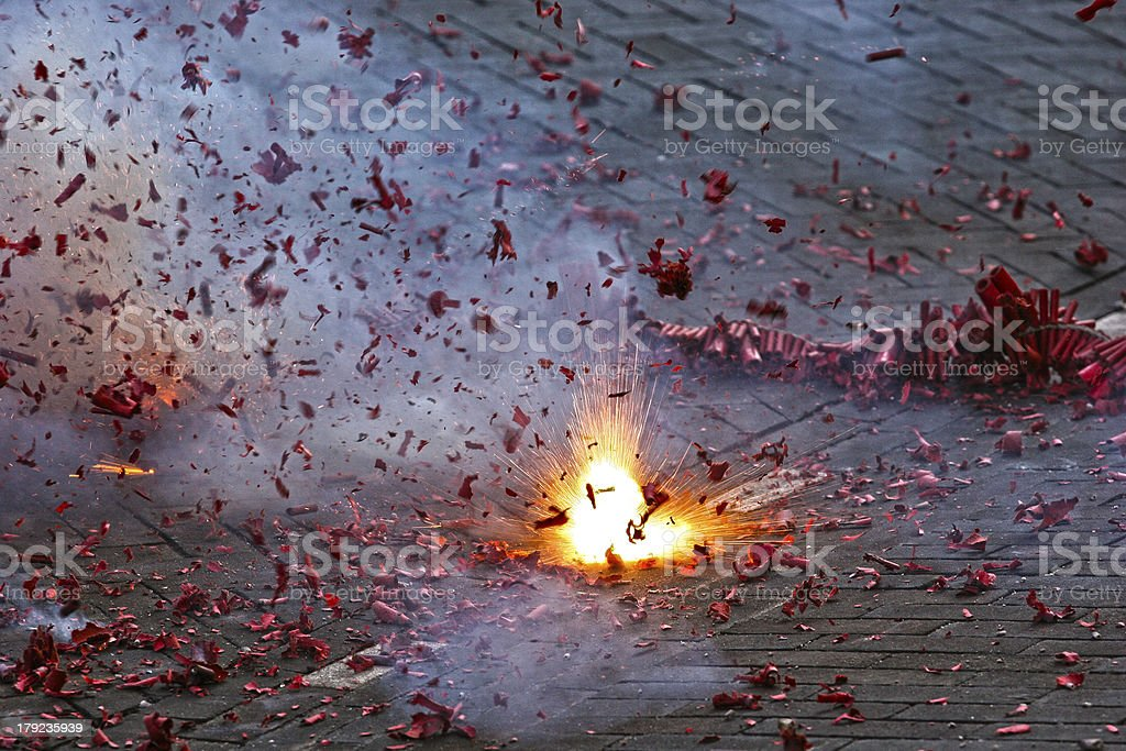 Exploding Chinese Firecrackers stock photo