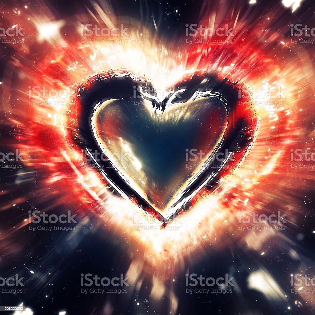 Exploding heart stock photo