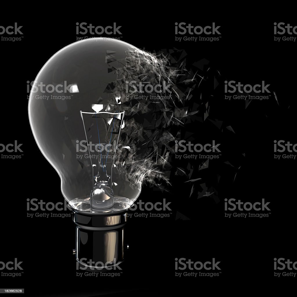 Exploding Light Bulb royalty-free stock photo