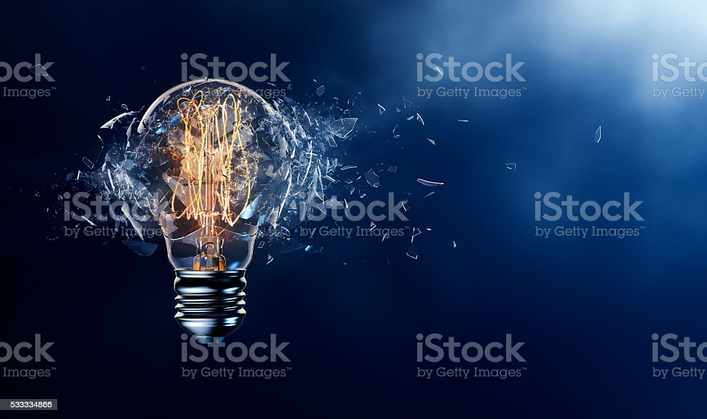 Exploding Light Bulb stock photo