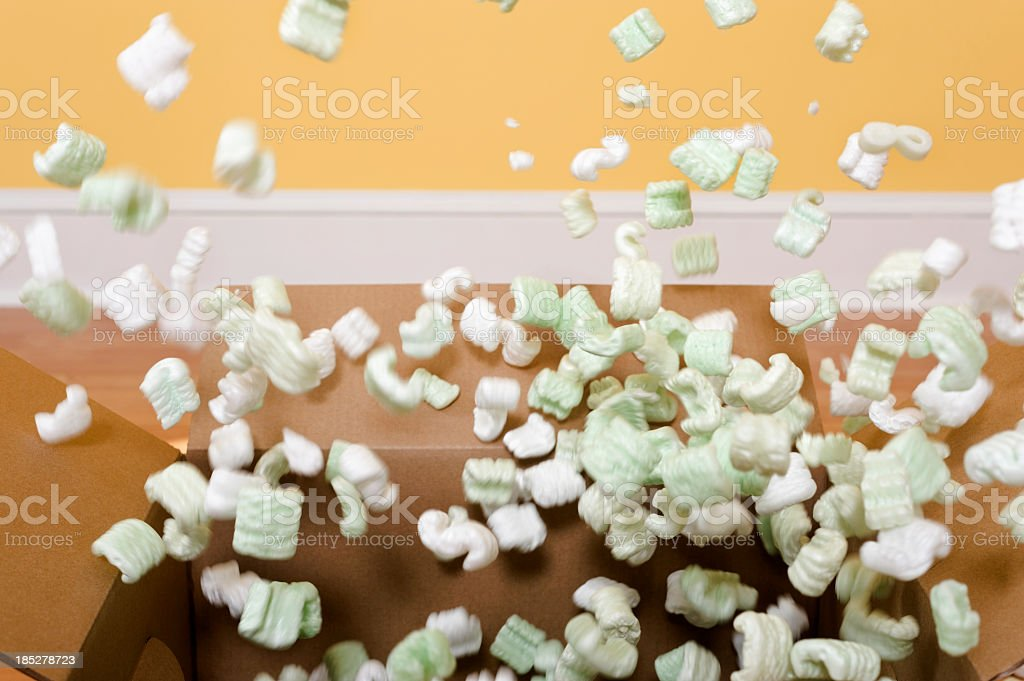 Exploding Packing Peanuts stock photo