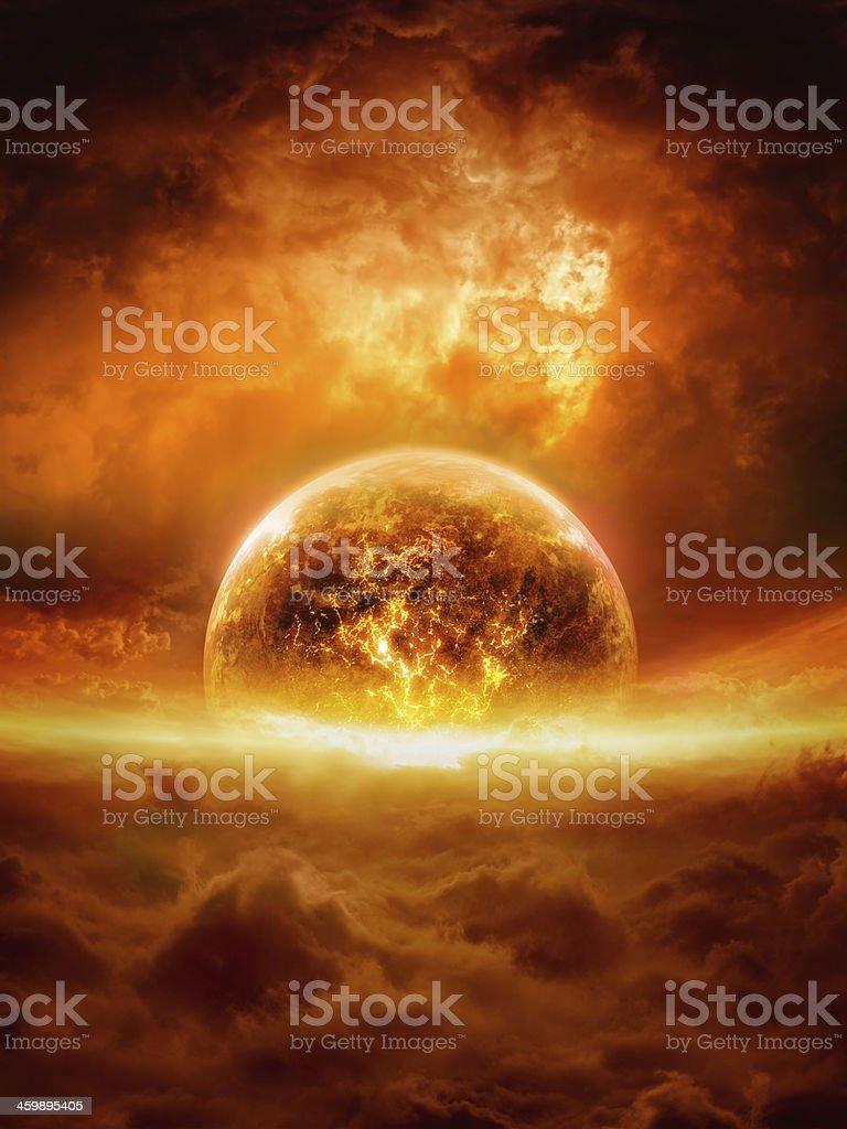 Exploding planet stock photo