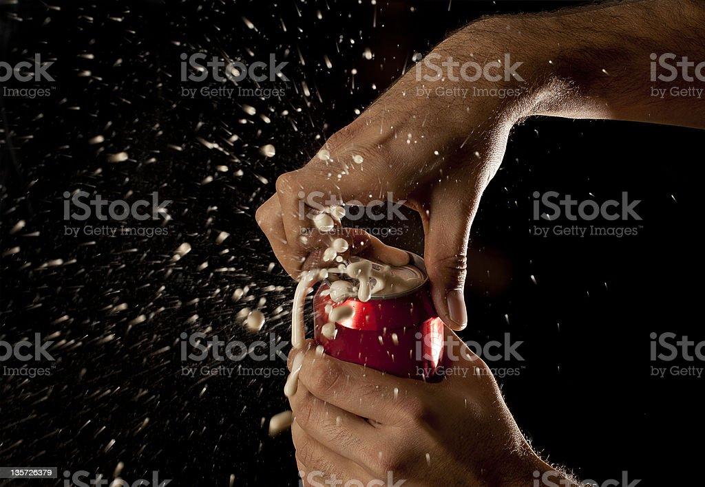 Exploding soda can stock photo