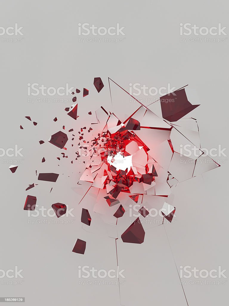 exploding white wall with glowing red parts stock photo