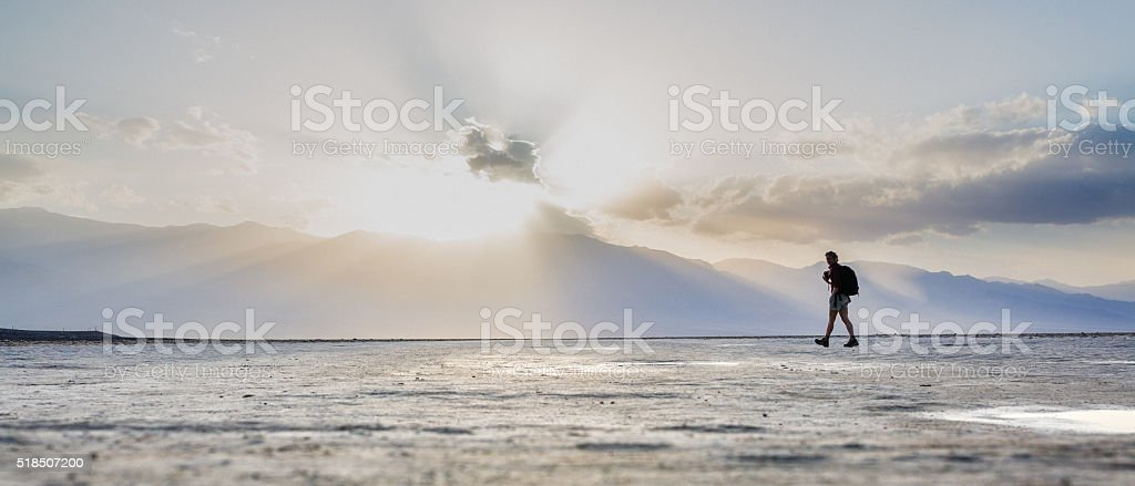 Exploration in the salt desert in Death Valley stock photo