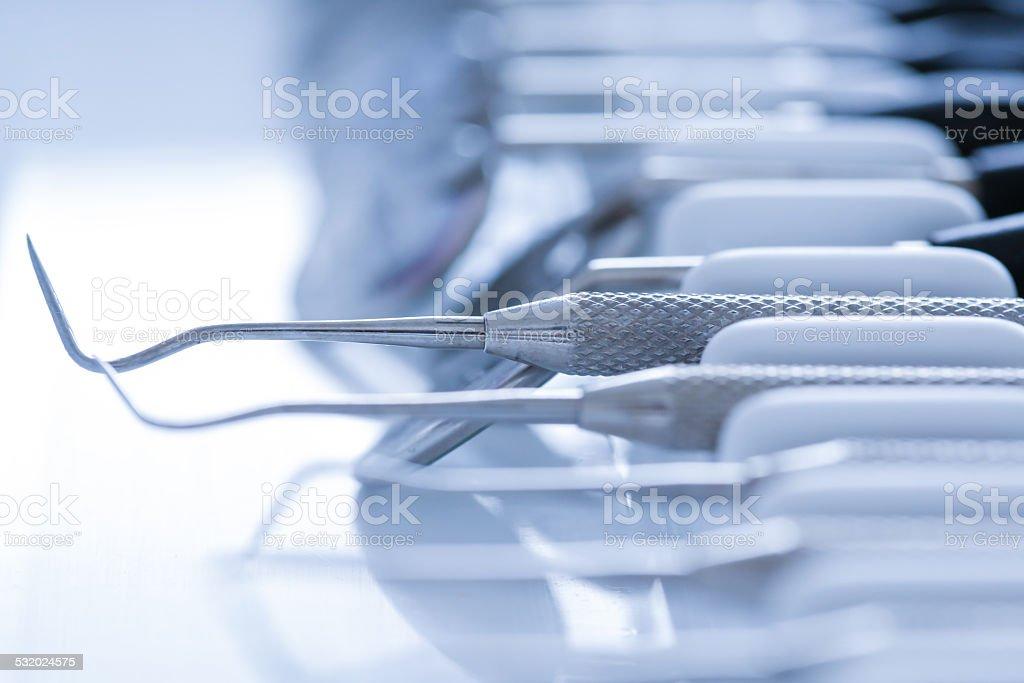 Exploratory dental tools stock photo