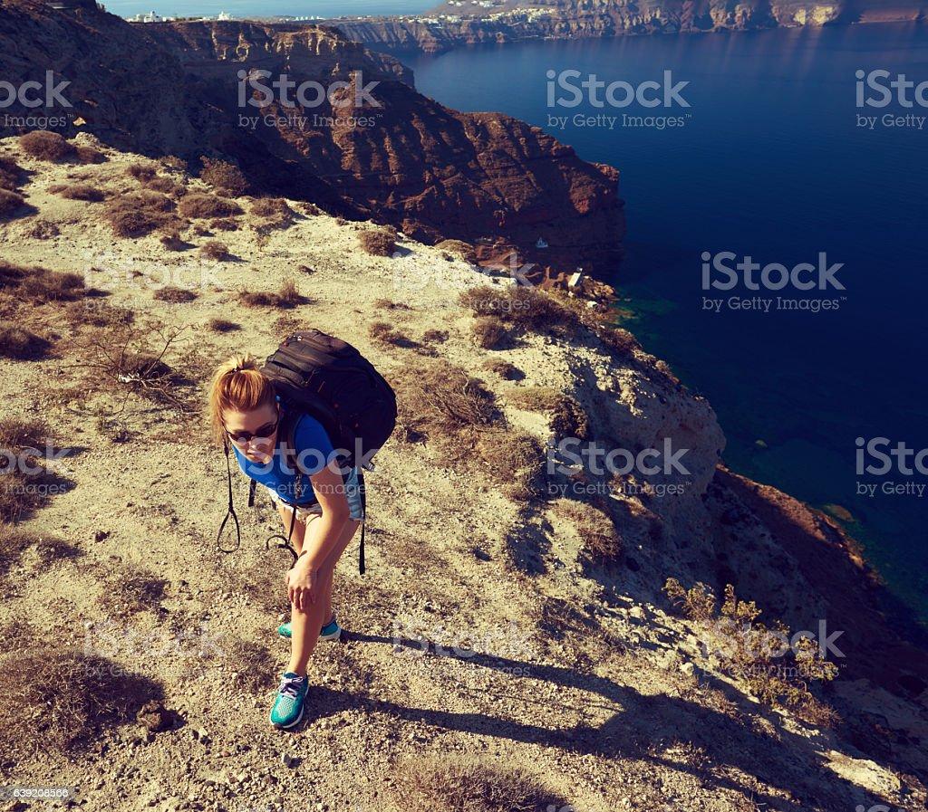 explore the Santorini island stock photo