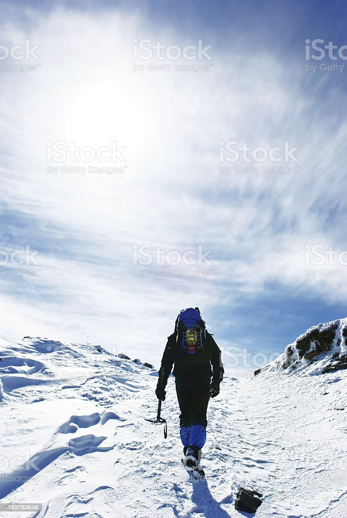 explorer heading for the summit royalty-free stock photo