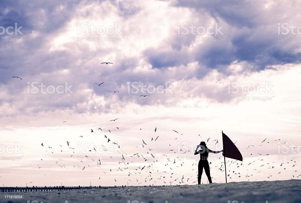 Explorer under stormy skies circled by birds royalty-free stock photo