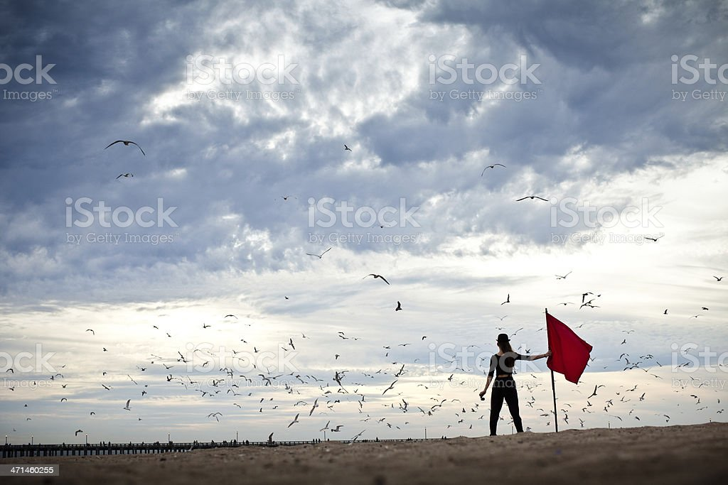 Explorer under stormy skies circled by birds stock photo
