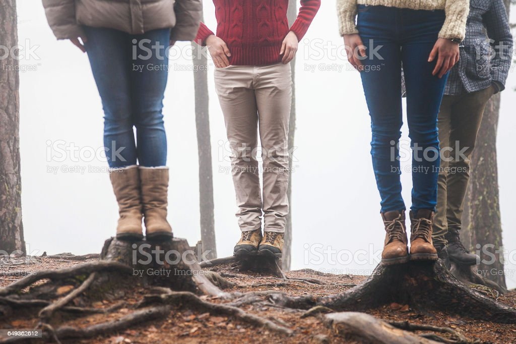 Explorers in suggestive place stock photo