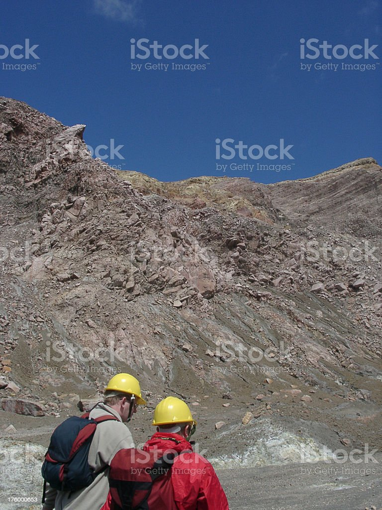 explorers on a volcano crater, New Zealand stock photo