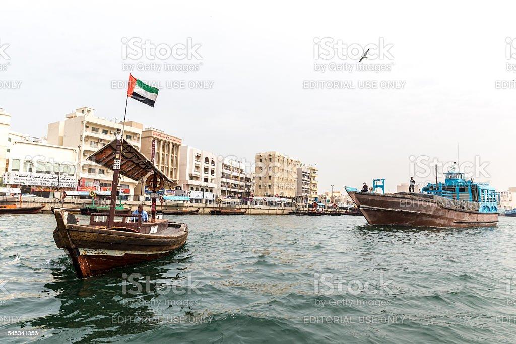 Exploring Dubai using Abra stock photo