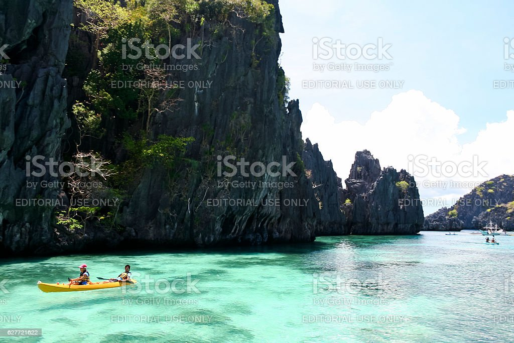 exploring el nido palawn by kayak royalty-free stock photo