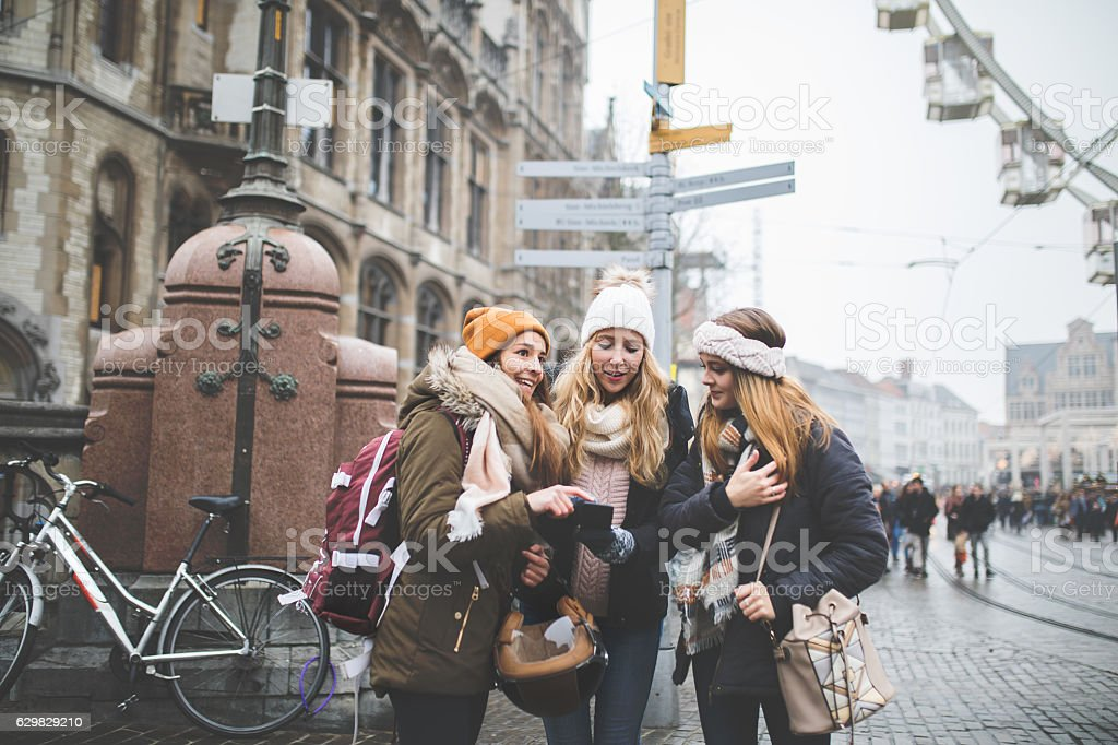 Exploring Europe with my best friends stock photo