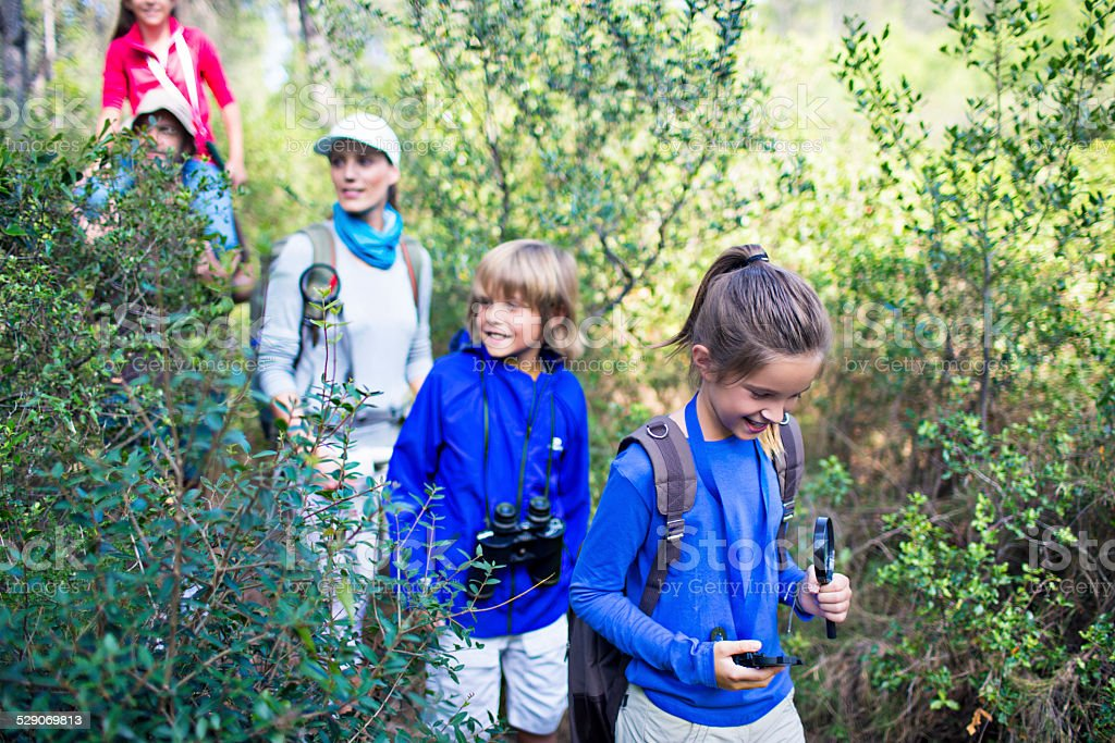 Exploring in the woods stock photo