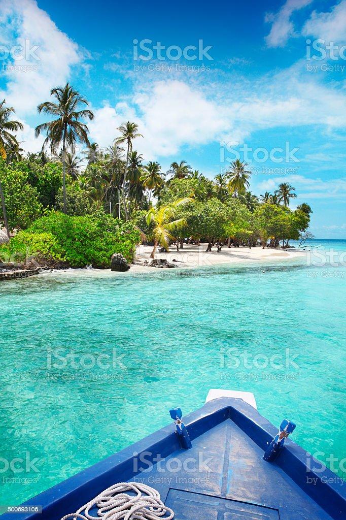 Exploring Maldives by boat stock photo