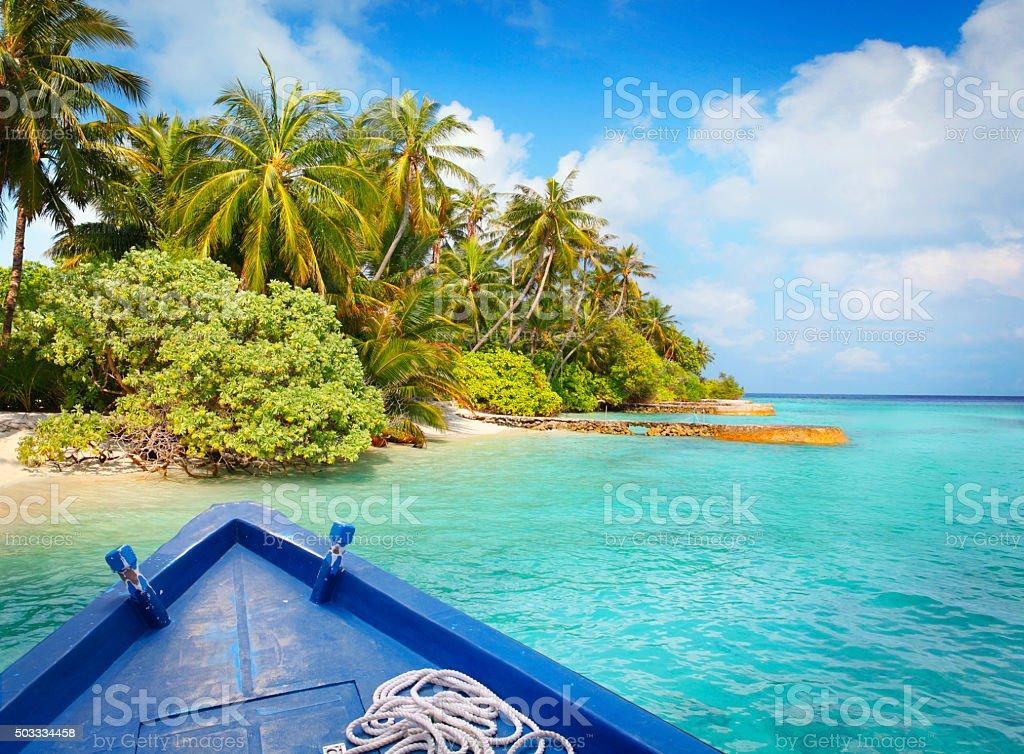 Exploring Maldives islands on the boat stock photo