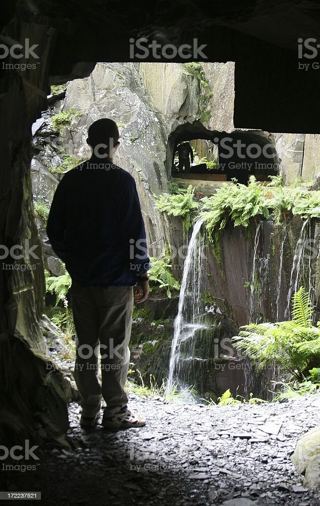 Exploring old slate mines, Llanberis North Wales stock photo
