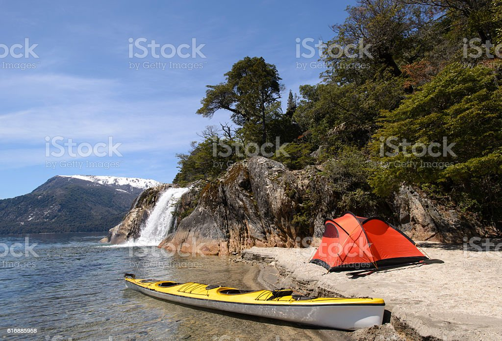 Exploring Patagonia Sea Kayak stock photo