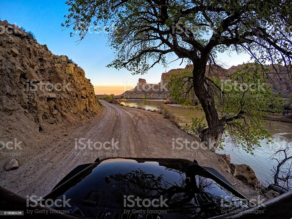Exploring the Green River and Canyons by SUV 4x4 Vehicle stock photo