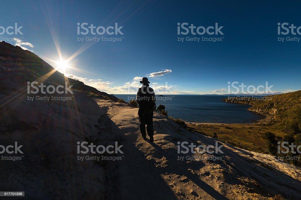 Exploring the Island of the Sun, Titicaca Lake, Bolivia stock photo