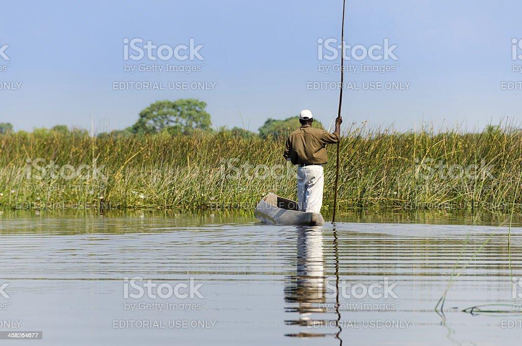 Exploring the Okavango Delta in a kayak royalty-free stock photo