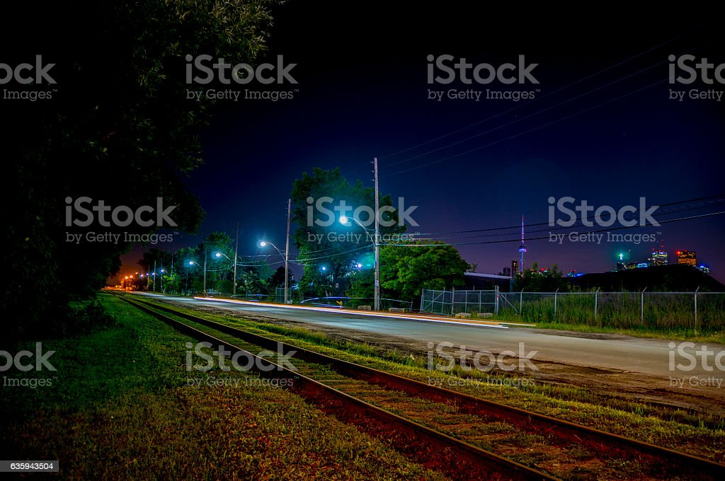 Exploring the Port Lands At Night stock photo