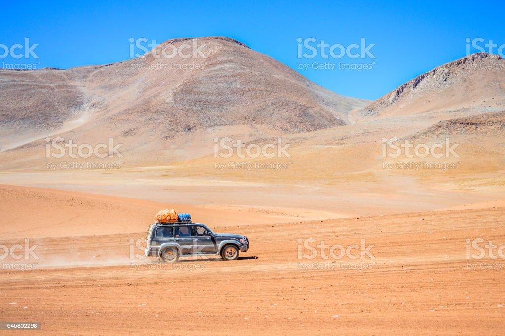 Exploring the Salar de Uyuni salt flats in Bolivia stock photo