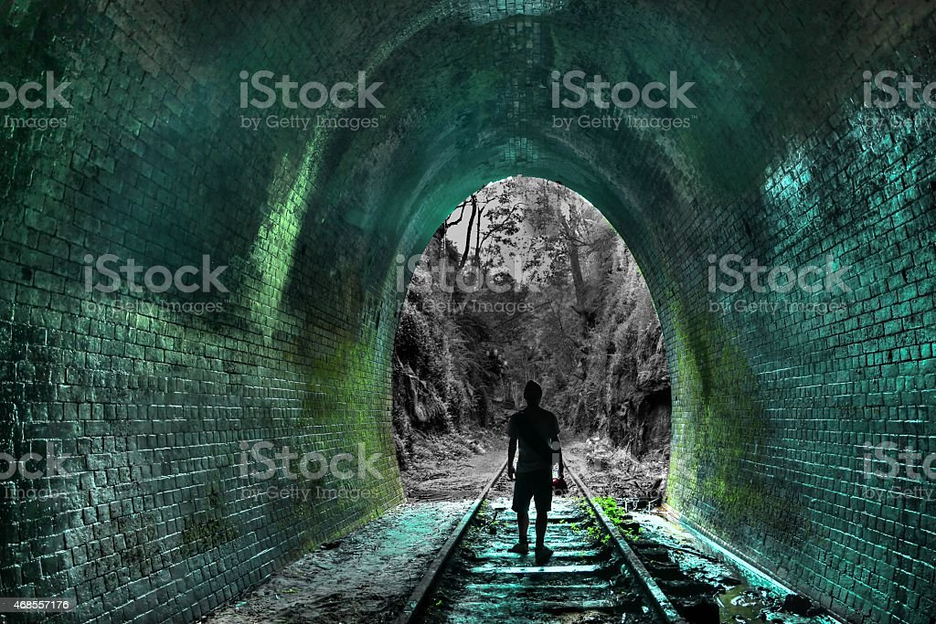 Exploring underground stock photo