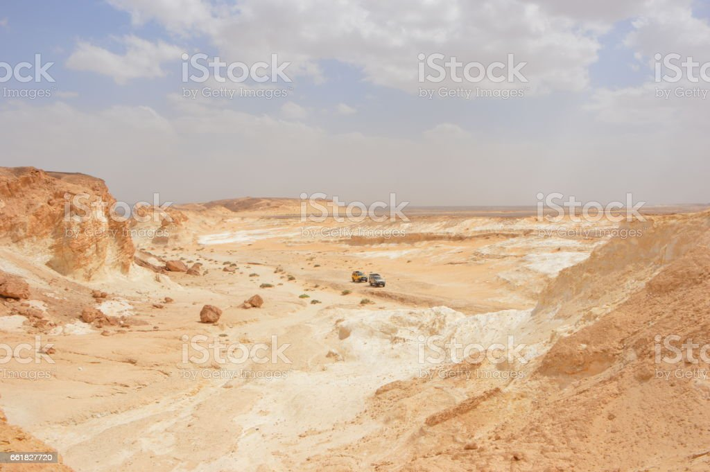 Exploring Wadi Dahek stock photo