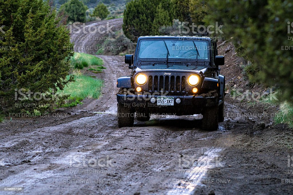 Exploring Wet and Muddy Roads by Jeep 4x4 stock photo